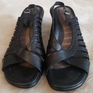 Dansko Leather Black Ankle Strap Sandals